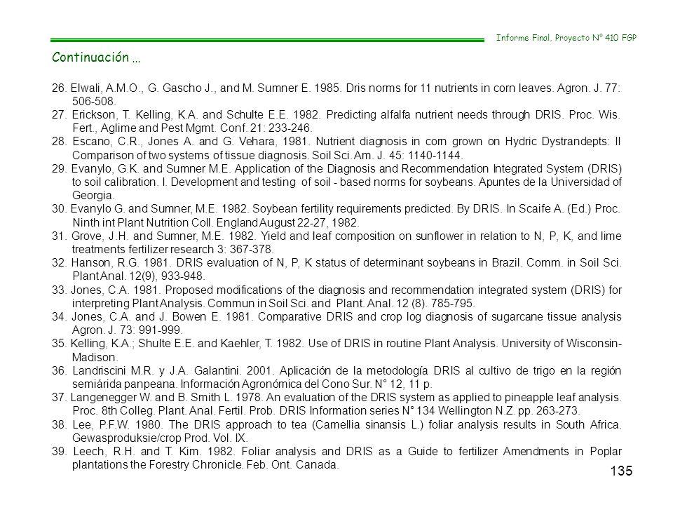 135 Informe Final, Proyecto N° 410 FGP Continuación … 26. Elwali, A.M.O., G. Gascho J., and M. Sumner E. 1985. Dris norms for 11 nutrients in corn lea