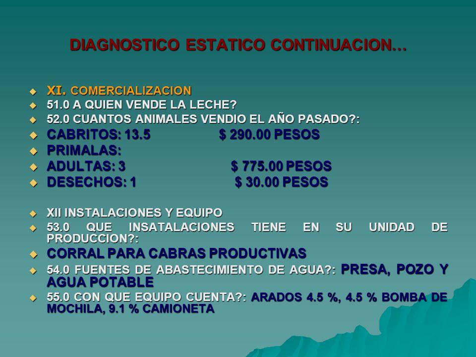 DIAGNOSTICO ESTATICO CONTINUACION… XI. COMERCIALIZACION XI.