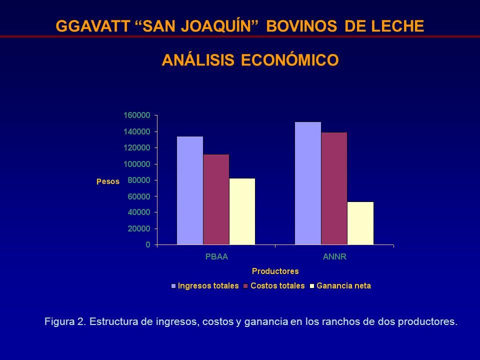 GGAVATT SAN JOAQUÍN BOVINOS DE LECHE Figura 2. Estructura de ingresos, costos y ganancia en los ranchos de dos productores. ANÁLISIS ECONÓMICO