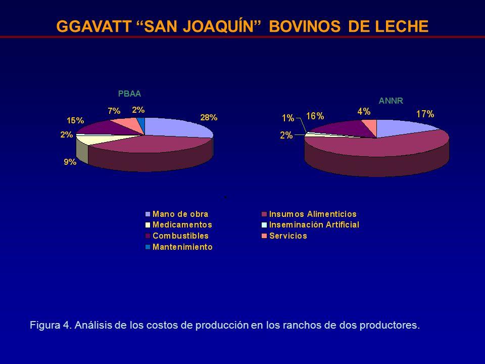 GGAVATT SAN JOAQUÍN BOVINOS DE LECHE Figura 4. Análisis de los costos de producción en los ranchos de dos productores.