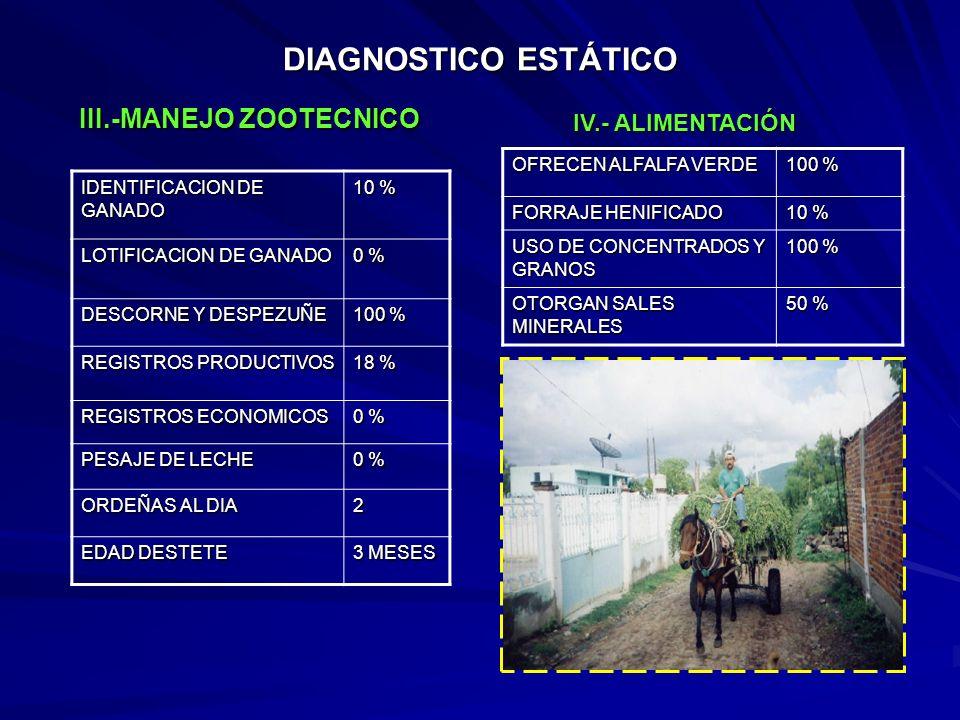DIAGNOSTICO ESTÁTICO IDENTIFICACION DE GANADO 10 % LOTIFICACION DE GANADO 0 % DESCORNE Y DESPEZUÑE 100 % REGISTROS PRODUCTIVOS 18 % REGISTROS ECONOMICOS 0 % PESAJE DE LECHE 0 % ORDEÑAS AL DIA 2 EDAD DESTETE 3 MESES OFRECEN ALFALFA VERDE 100 % FORRAJE HENIFICADO 10 % USO DE CONCENTRADOS Y GRANOS 100 % OTORGAN SALES MINERALES 50 % III.-MANEJO ZOOTECNICO IV.- ALIMENTACIÓN