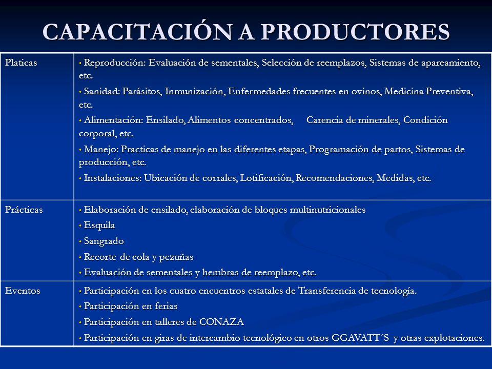 CAPACITACIÓN A PRODUCTORES Platicas Reproducción: Evaluación de sementales, Selección de reemplazos, Sistemas de apareamiento, etc. Reproducción: Eval