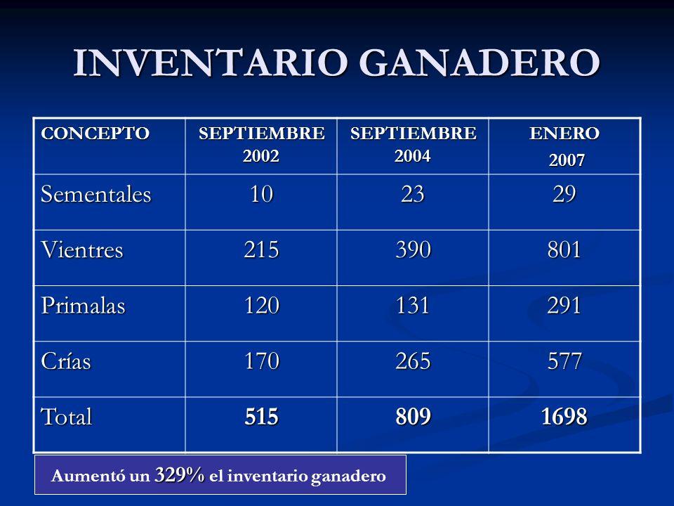 INVENTARIO GANADERO CONCEPTO SEPTIEMBRE 2002 SEPTIEMBRE 2004 ENERO 2007 2007 Sementales102329 Vientres215390801 Primalas120131291 Crías170265577 Total