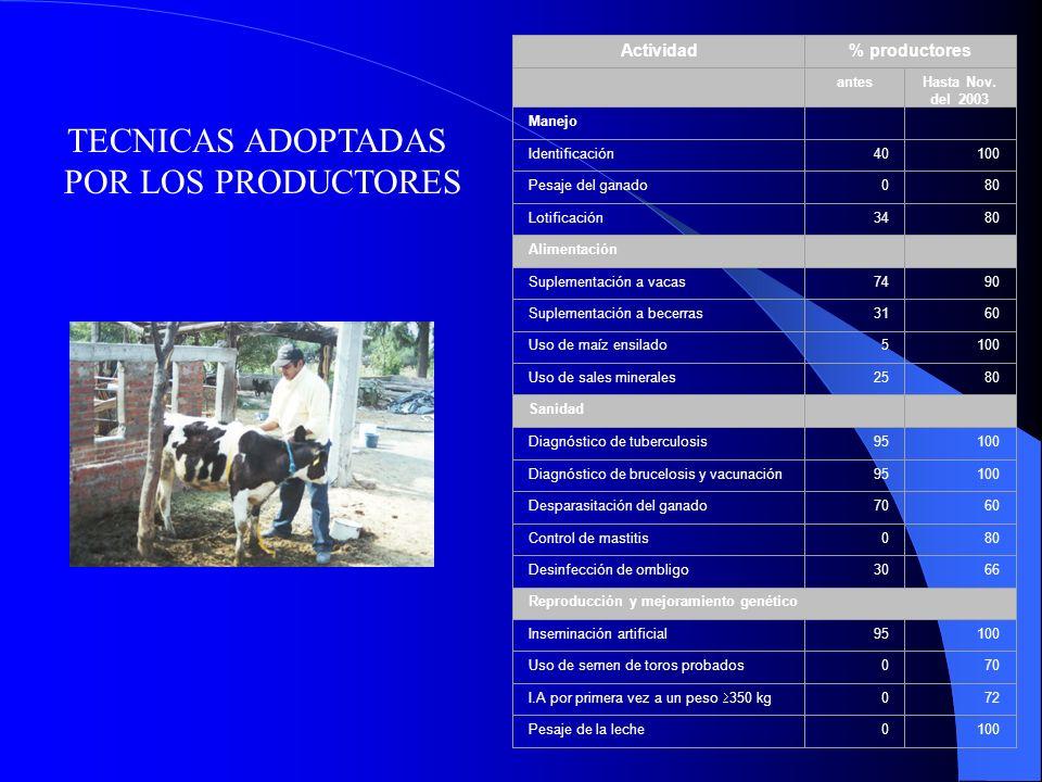 TECNICAS ADOPTADAS POR LOS PRODUCTORES Actividad% productores antesHasta Nov. del 2003 Manejo Identificación40100 Pesaje del ganado080 Lotificación348