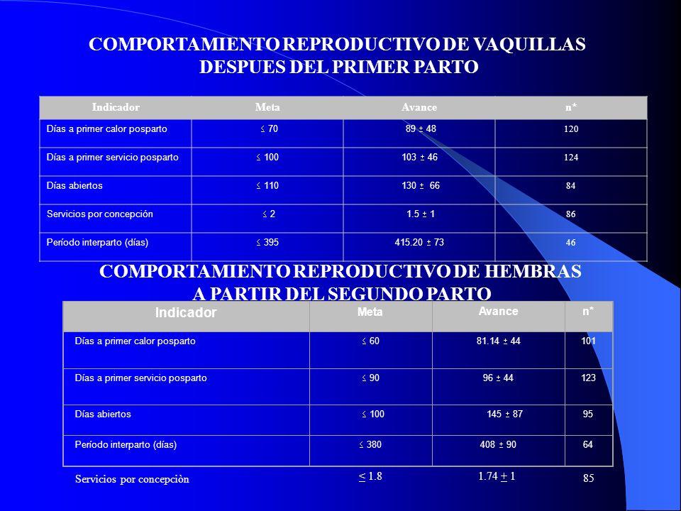 IndicadorMetaAvancen*n* Producción por lactancia (kg) > 4000 6616 3106 133 Días en lactancia 300 327 101 75 Producción por día en lactancia (kg) > 13 23.9 6 7070 Producción por día interpato (kg) > 10 18.5 5 46 IndicadorMetaAvancen* Producción por lactancia (kg)> 5000 6592 3189 108 Días en lactancia.