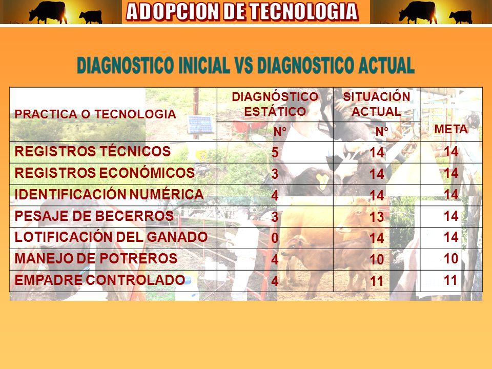 PRACTICA O TECNOLOGIA DIAGNÓSTICO ESTÁTICO SITUACIÓN ACTUAL META N° REGISTROS TÉCNICOS514 REGISTROS ECONÓMICOS314 IDENTIFICACIÓN NUMÉRICA414 PESAJE DE BECERROS31314 LOTIFICACIÓN DEL GANADO014 MANEJO DE POTREROS410 EMPADRE CONTROLADO411