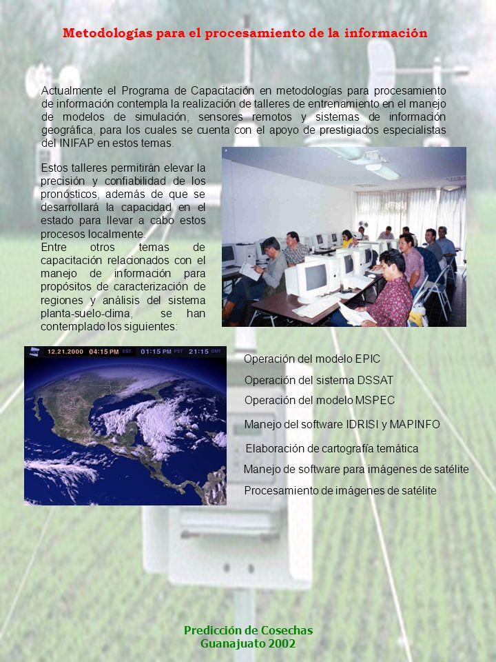 Actualmente el Programa de Capacitación en metodologías para procesamiento de información contempla la realización de talleres de entrenamiento en el