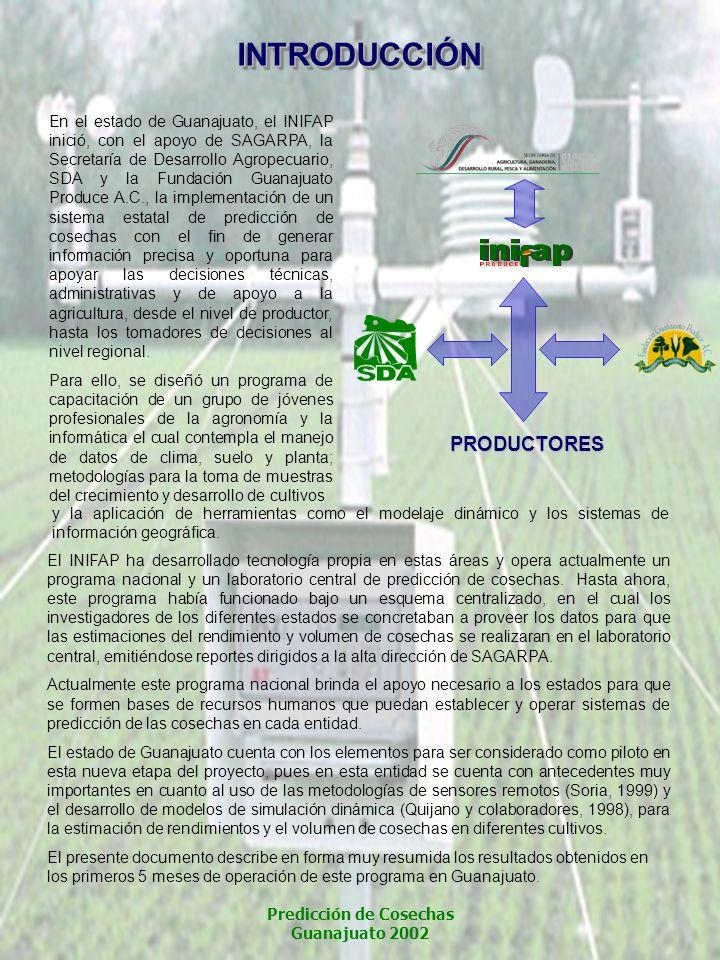 INTRODUCCIÓNINTRODUCCIÓN En el estado de Guanajuato, el INIFAP inició, con el apoyo de SAGARPA, la Secretaría de Desarrollo Agropecuario, SDA y la Fun