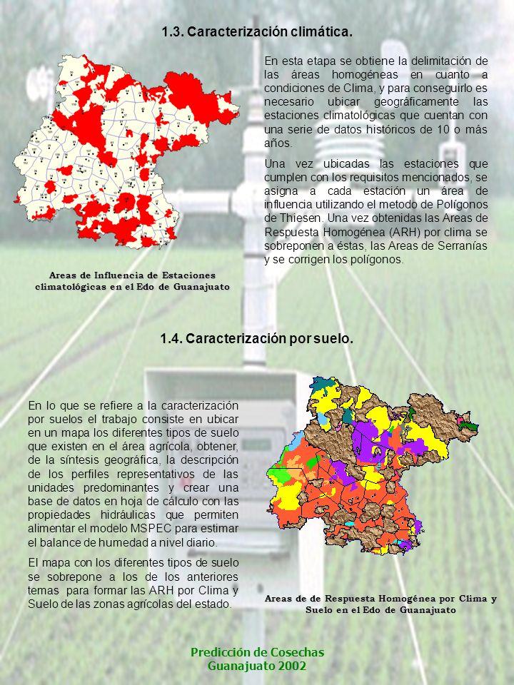 Areas de Influencia de Estaciones climatológicas en el Edo de Guanajuato Areas de de Respuesta Homogénea por Clima y Suelo en el Edo de Guanajuato 1.3