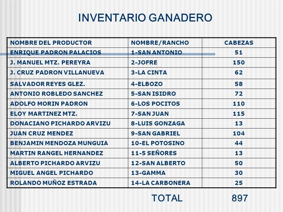 INVENTARIO GANADERO NOMBRE DEL PRODUCTORNOMBRE/RANCHOCABEZAS ENRIQUE PADRON PALACIOS1-SAN ANTONIO51 J. MANUEL MTZ. PEREYRA2-JOFRE150 J. CRUZ PADRON VI