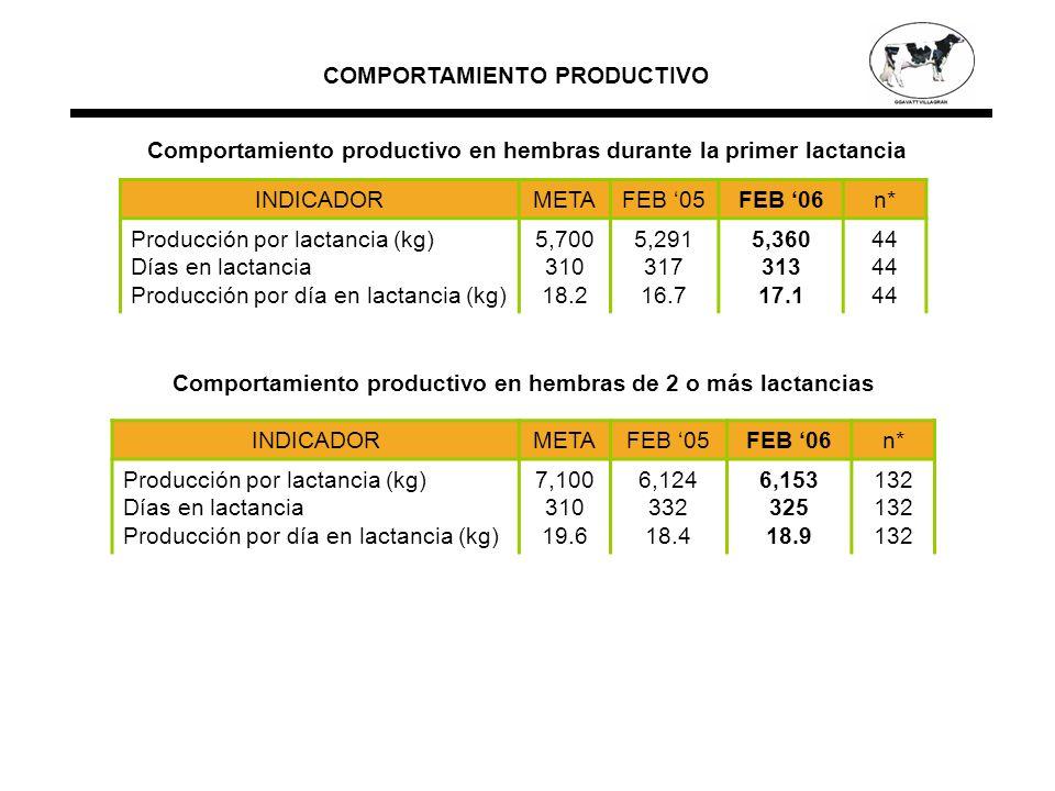 INDICADORMETAFEB 05FEB 06n* Producción por lactancia (kg) Días en lactancia Producción por día en lactancia (kg) 5,700 310 18.2 5,291 317 16.7 5,360 313 17.1 44 INDICADORMETAFEB 05FEB 06n* Producción por lactancia (kg) Días en lactancia Producción por día en lactancia (kg) 7,100 310 19.6 6,124 332 18.4 6,153 325 18.9 132 COMPORTAMIENTO PRODUCTIVO Comportamiento productivo en hembras durante la primer lactancia Comportamiento productivo en hembras de 2 o más lactancias