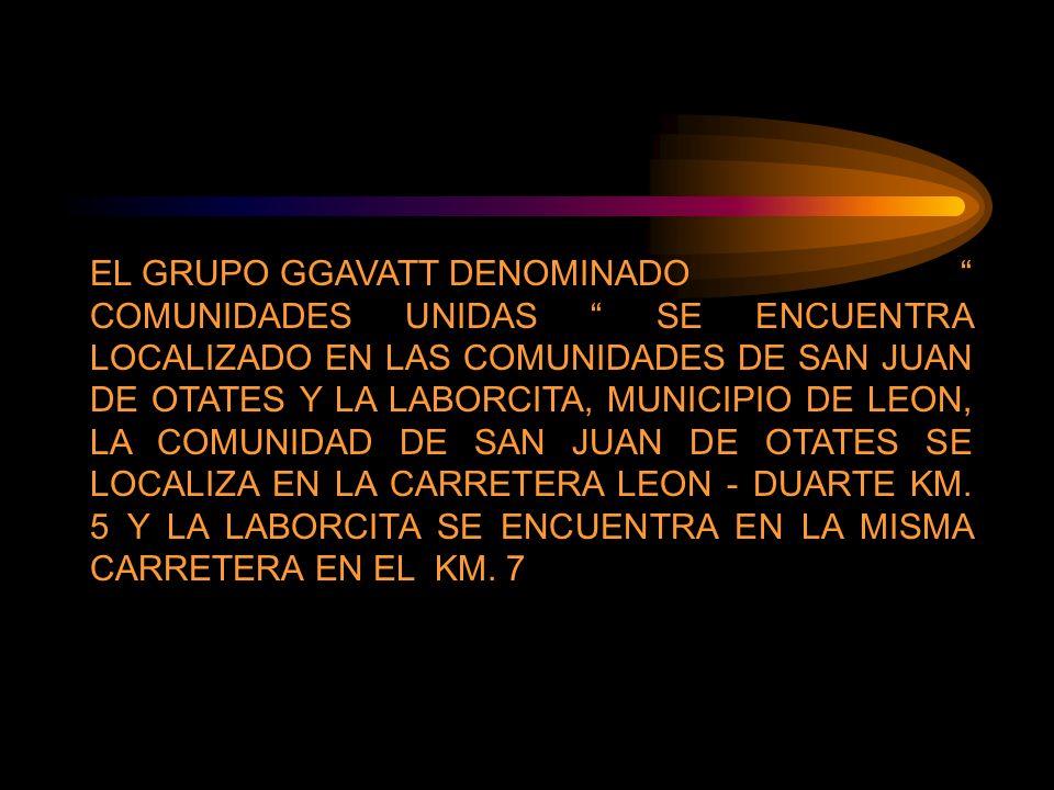 EL GRUPO GGAVATT DENOMINADO COMUNIDADES UNIDAS SE ENCUENTRA LOCALIZADO EN LAS COMUNIDADES DE SAN JUAN DE OTATES Y LA LABORCITA, MUNICIPIO DE LEON, LA