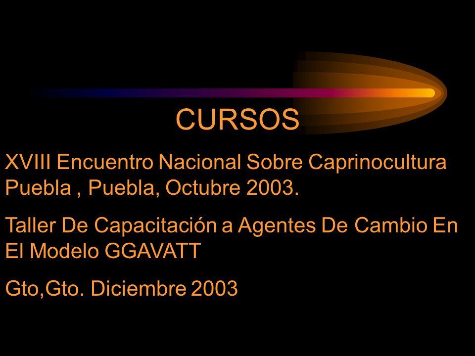 CURSOS XVIII Encuentro Nacional Sobre Caprinocultura Puebla, Puebla, Octubre 2003. Taller De Capacitación a Agentes De Cambio En El Modelo GGAVATT Gto