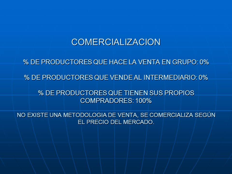 COMERCIALIZACION % DE PRODUCTORES QUE HACE LA VENTA EN GRUPO: 0% % DE PRODUCTORES QUE VENDE AL INTERMEDIARIO: 0% % DE PRODUCTORES QUE TIENEN SUS PROPI