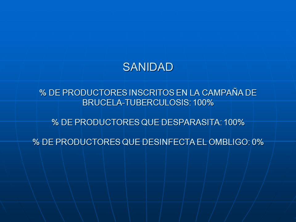 SANIDAD % DE PRODUCTORES INSCRITOS EN LA CAMPAÑA DE BRUCELA-TUBERCULOSIS: 100% % DE PRODUCTORES QUE DESPARASITA: 100% % DE PRODUCTORES QUE DESINFECTA
