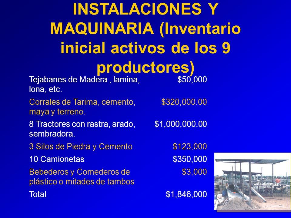 INSTALACIONES Y MAQUINARIA (Inventario inicial activos de los 9 productores) Tejabanes de Madera, lamina, lona, etc.