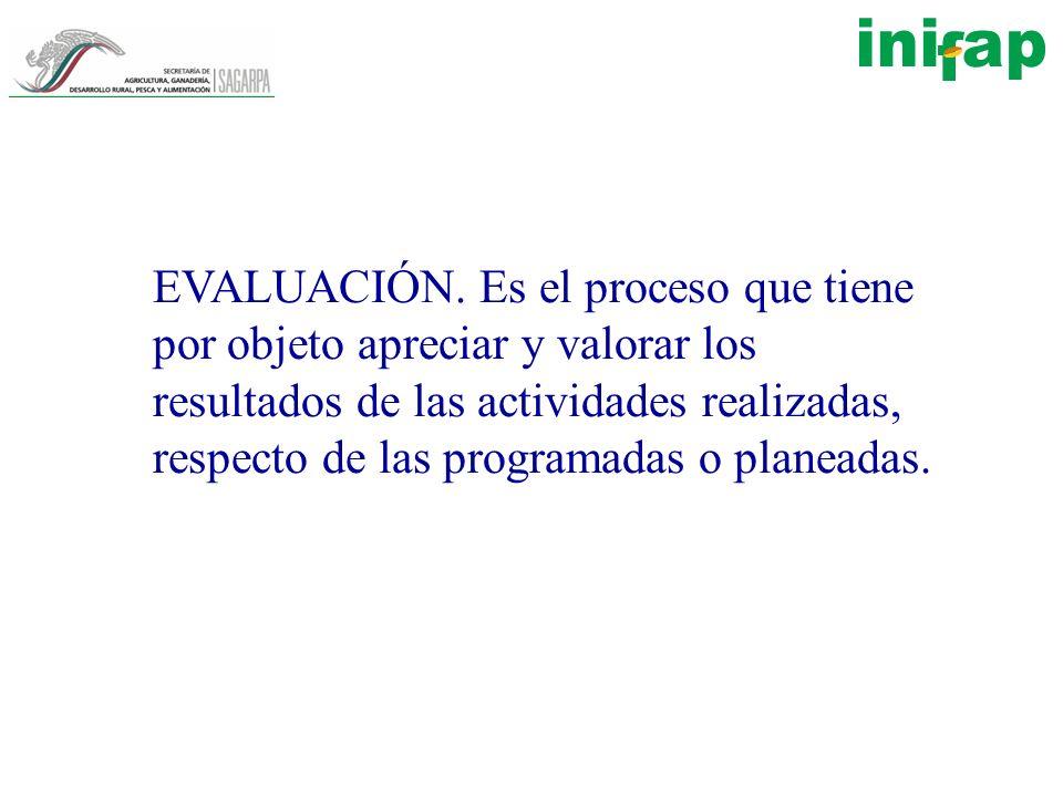 EVALUACIÓN. Es el proceso que tiene por objeto apreciar y valorar los resultados de las actividades realizadas, respecto de las programadas o planeada