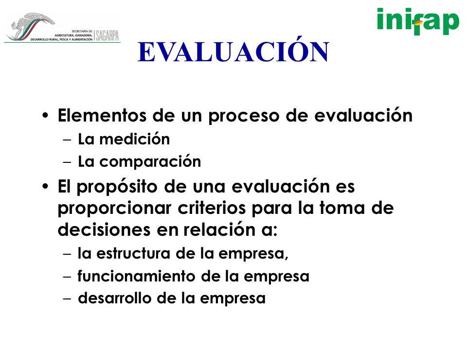 EVALUACIÓN Elementos de un proceso de evaluación – La medición – La comparación El propósito de una evaluación es proporcionar criterios para la toma