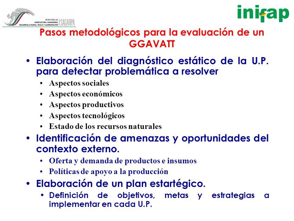 Pasos metodológicos para la evaluación de un GGAVATT Elaboración del diagnóstico estático de la U.P. para detectar problemática a resolver Aspectos so