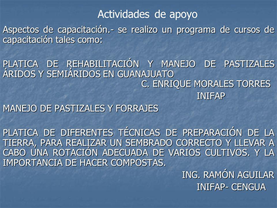 Aspectos de capacitación.- se realizo un programa de cursos de capacitación tales como: PLATICA DE REHABILITACIÓN Y MANEJO DE PASTIZALES ÁRIDOS Y SEMI