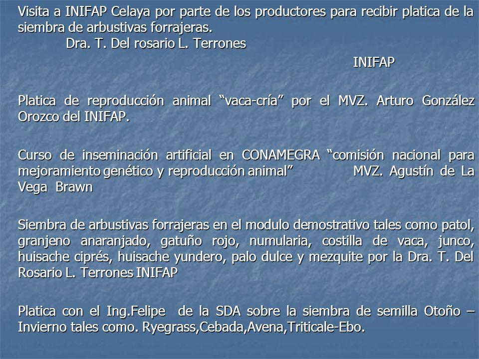 Visita a INIFAP Celaya por parte de los productores para recibir platica de la siembra de arbustivas forrajeras. Dra. T. Del rosario L. Terrones INIFA