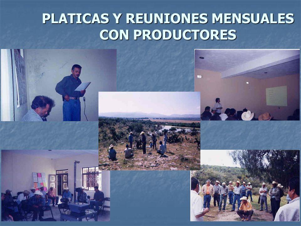 PLATICAS Y REUNIONES MENSUALES CON PRODUCTORES