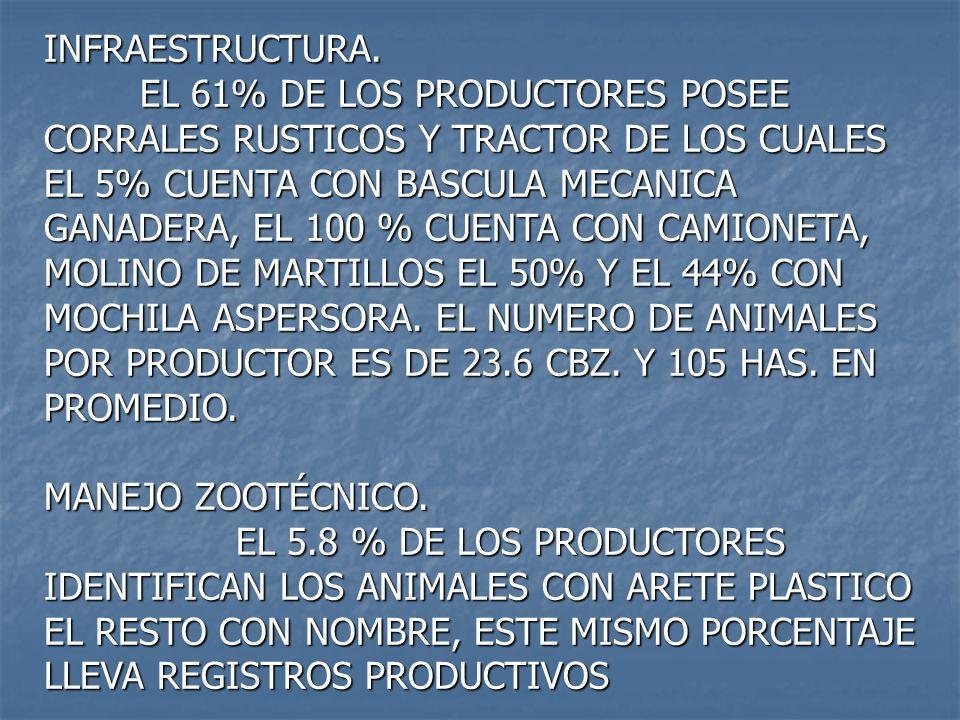 INFRAESTRUCTURA. EL 61% DE LOS PRODUCTORES POSEE CORRALES RUSTICOS Y TRACTOR DE LOS CUALES EL 5% CUENTA CON BASCULA MECANICA GANADERA, EL 100 % CUENTA