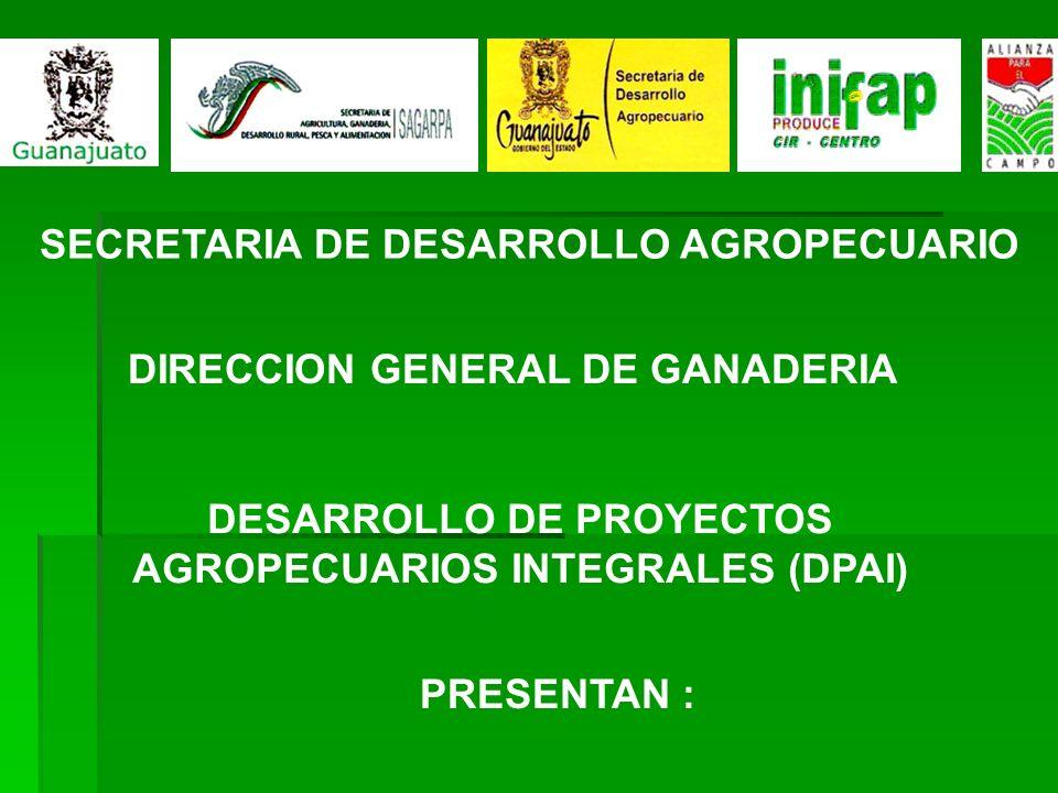 SECRETARIA DE DESARROLLO AGROPECUARIO DIRECCION GENERAL DE GANADERIA DESARROLLO DE PROYECTOS AGROPECUARIOS INTEGRALES (DPAI) PRESENTAN :