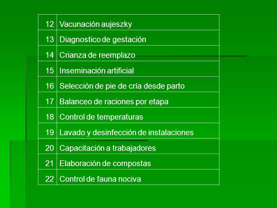 12Vacunación aujeszky 13Diagnostico de gestación 14Crianza de reemplazo 15Inseminación artificial 16Selección de pie de cría desde parto 17Balanceo de