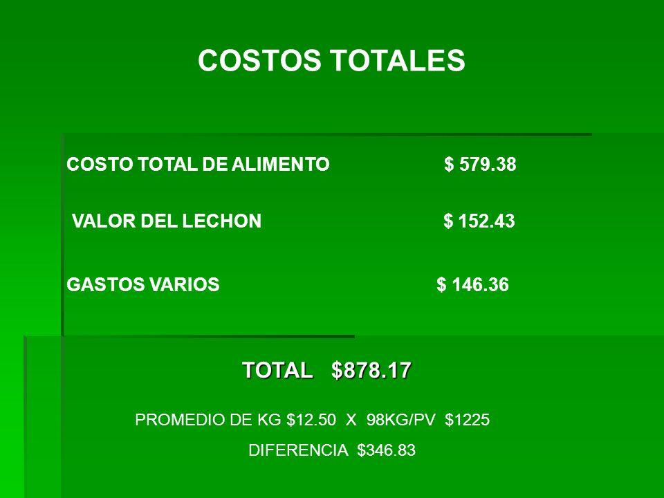 COSTOS TOTALES COSTO TOTAL DE ALIMENTO $ 579.38 VALOR DEL LECHON $ 152.43 GASTOS VARIOS $ 146.36 TOTAL $878.17 PROMEDIO DE KG $12.50 X 98KG/PV $1225 D