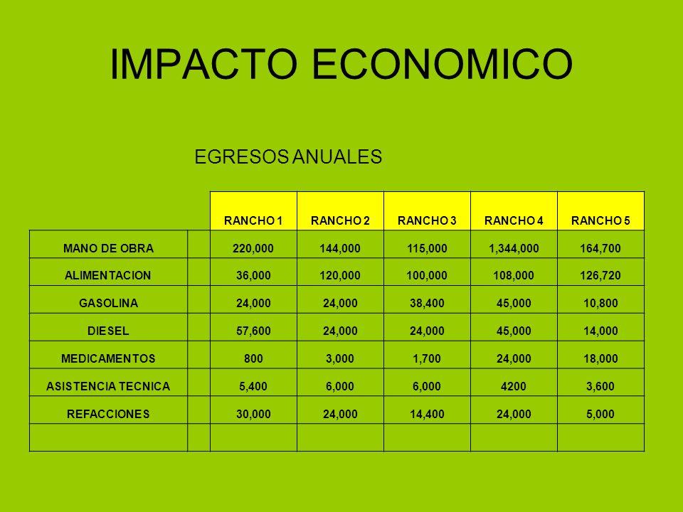 IMPACTO ECONOMICO EGRESOS ANUALES RANCHO 1RANCHO 2RANCHO 3RANCHO 4RANCHO 5 MANO DE OBRA 220,000144,000115,0001,344,000164,700 ALIMENTACION 36,000120,0