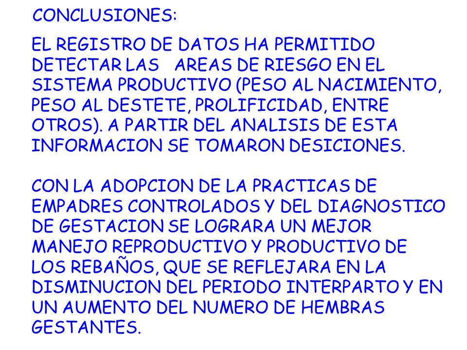 CONCLUSIONES: EL REGISTRO DE DATOS HA PERMITIDO DETECTAR LAS AREAS DE RIESGO EN EL SISTEMA PRODUCTIVO (PESO AL NACIMIENTO, PESO AL DESTETE, PROLIFICID