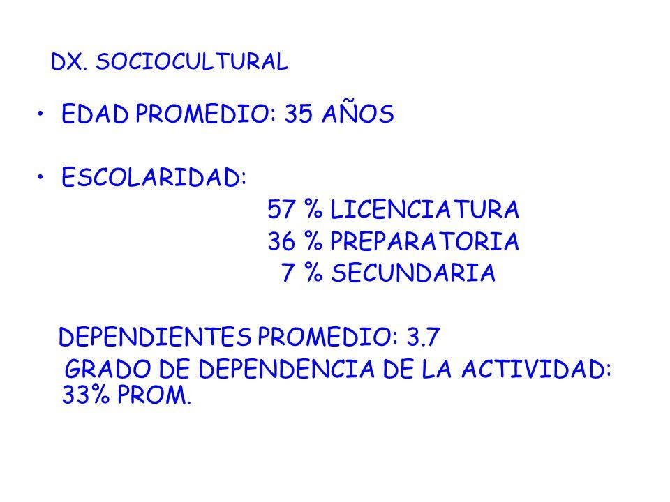 EDAD PROMEDIO: 35 AÑOS ESCOLARIDAD: 57 % LICENCIATURA 36 % PREPARATORIA 7 % SECUNDARIA DEPENDIENTES PROMEDIO: 3.7 GRADO DE DEPENDENCIA DE LA ACTIVIDAD
