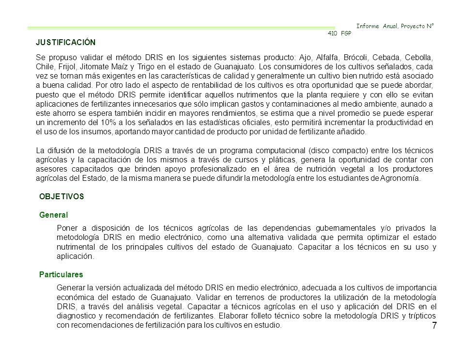 7 JUSTIFICACIÓN Se propuso validar el método DRIS en los siguientes sistemas producto: Ajo, Alfalfa, Brócoli, Cebada, Cebolla, Chile, Frijol, Jitomate