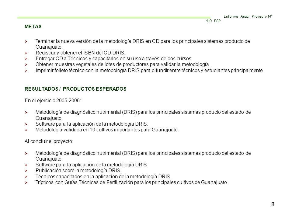 8 METAS Terminar la nueva versión de la metodología DRIS en CD para los principales sistemas producto de Guanajuato. Registrar y obtener el ISBN del C