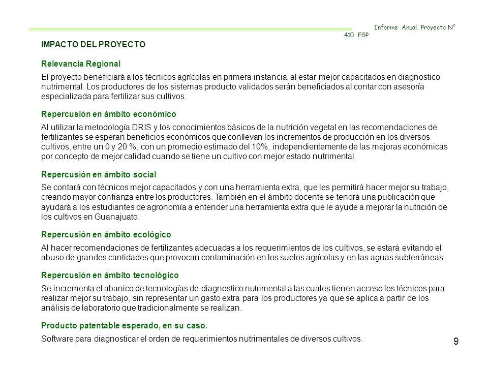 9 IMPACTO DEL PROYECTO Relevancia Regional El proyecto beneficiará a los técnicos agrícolas en primera instancia, al estar mejor capacitados en diagno
