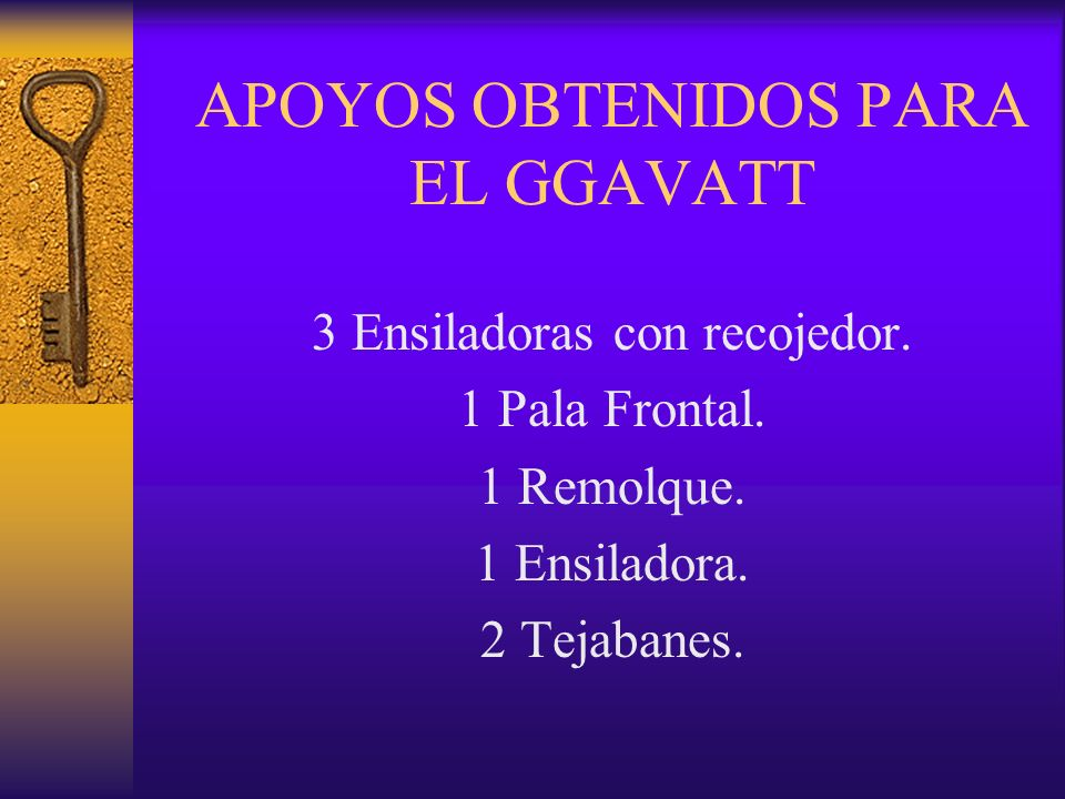 APOYOS OBTENIDOS PARA EL GGAVATT 3 Ensiladoras con recojedor. 1 Pala Frontal. 1 Remolque. 1 Ensiladora. 2 Tejabanes.