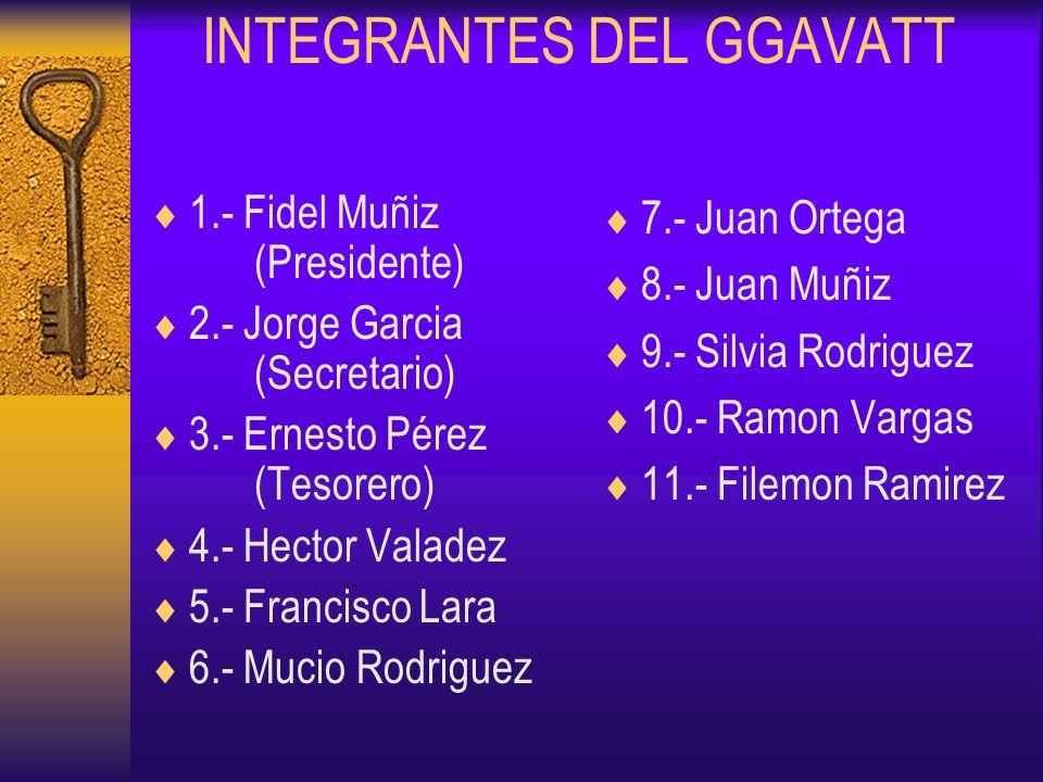 INTEGRANTES DEL GGAVATT 1.- Fidel Muñiz (Presidente) 2.- Jorge Garcia (Secretario) 3.- Ernesto Pérez (Tesorero) 4.- Hector Valadez 5.- Francisco Lara