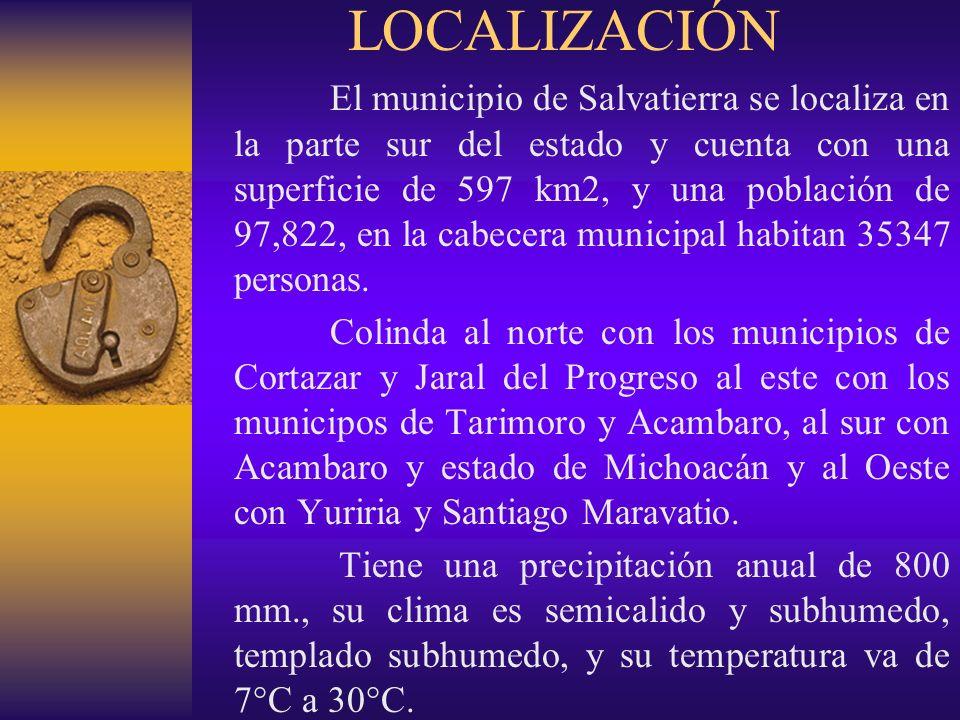LOCALIZACIÓN El municipio de Salvatierra se localiza en la parte sur del estado y cuenta con una superficie de 597 km2, y una población de 97,822, en