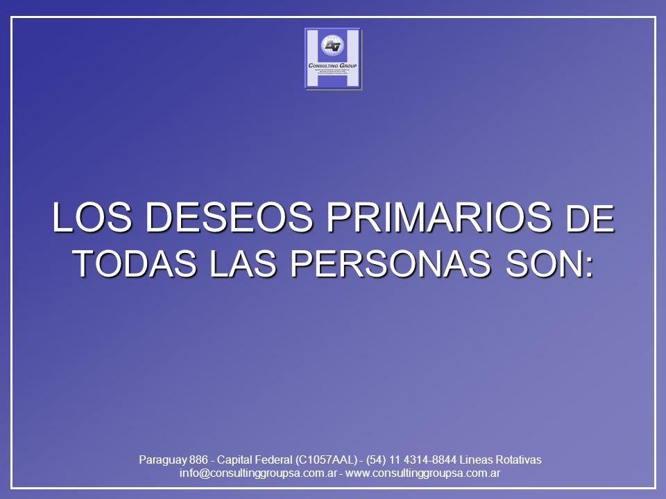 Paraguay 886 - Capital Federal (C1057AAL) - (54) 11 4314-8844 Lineas Rotativas info@consultinggroupsa.com.ar - www.consultinggroupsa.com.ar LOS DESEOS PRIMARIOS DE TODAS LAS PERSONAS SON: