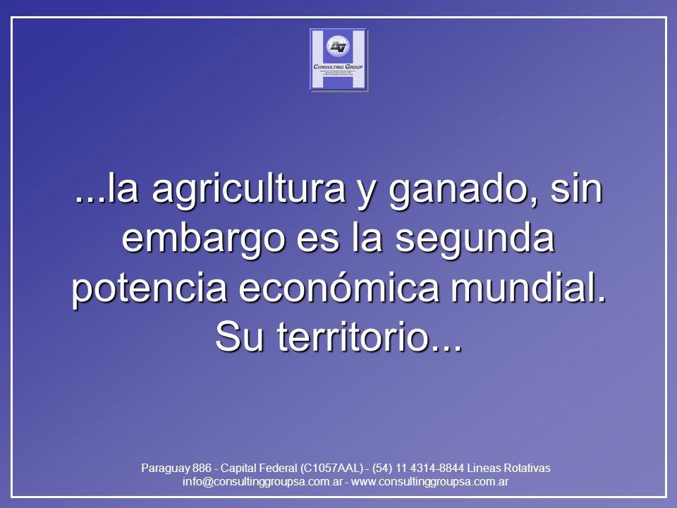 Paraguay 886 - Capital Federal (C1057AAL) - (54) 11 4314-8844 Lineas Rotativas info@consultinggroupsa.com.ar - www.consultinggroupsa.com.ar...la agricultura y ganado, sin embargo es la segunda potencia económica mundial.