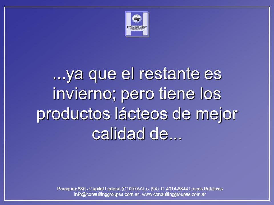 Paraguay 886 - Capital Federal (C1057AAL) - (54) 11 4314-8844 Lineas Rotativas info@consultinggroupsa.com.ar - www.consultinggroupsa.com.ar...ya que el restante es invierno; pero tiene los productos lácteos de mejor calidad de...
