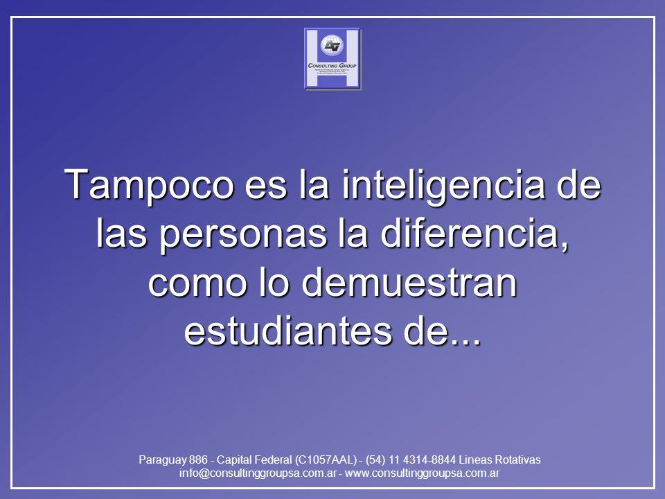 Paraguay 886 - Capital Federal (C1057AAL) - (54) 11 4314-8844 Lineas Rotativas info@consultinggroupsa.com.ar - www.consultinggroupsa.com.ar Tampoco es la inteligencia de las personas la diferencia, como lo demuestran estudiantes de...