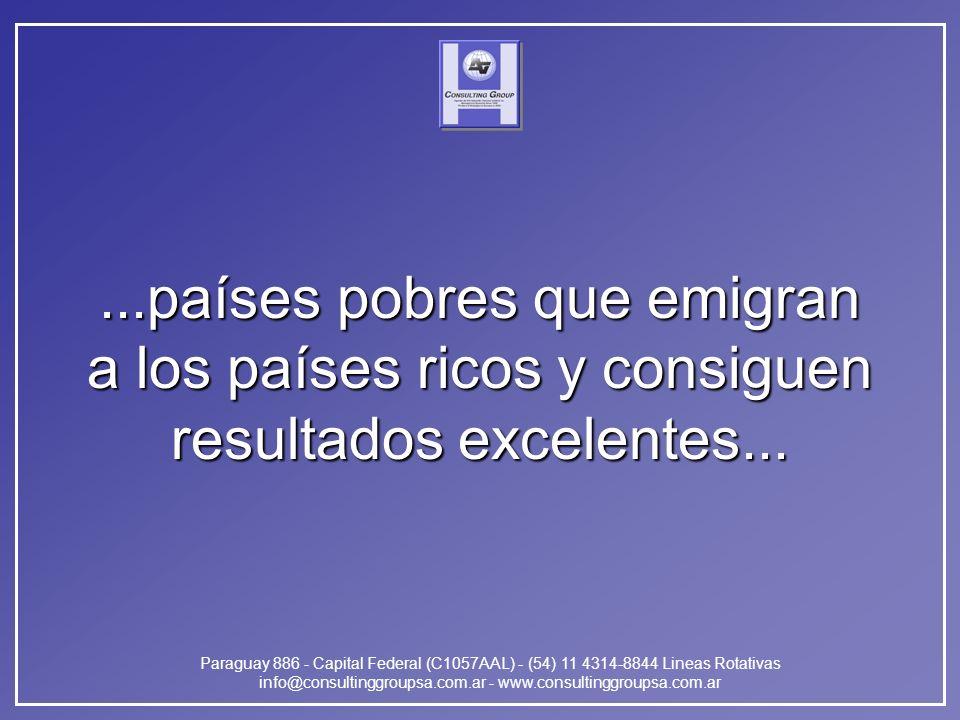 Paraguay 886 - Capital Federal (C1057AAL) - (54) 11 4314-8844 Lineas Rotativas info@consultinggroupsa.com.ar - www.consultinggroupsa.com.ar...países pobres que emigran a los países ricos y consiguen resultados excelentes...