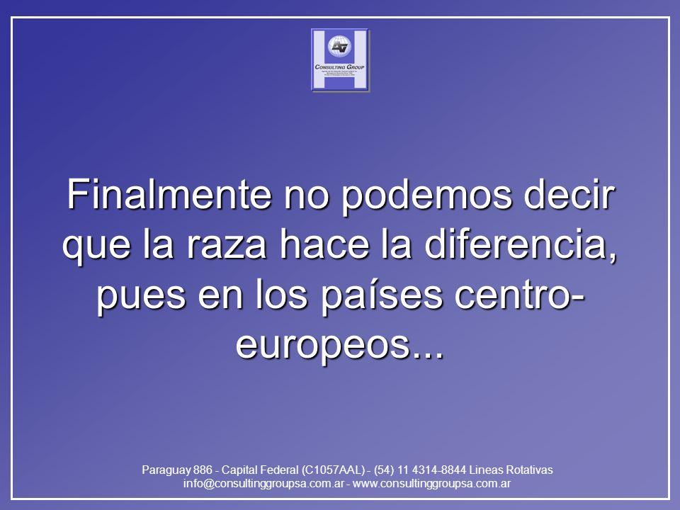 Paraguay 886 - Capital Federal (C1057AAL) - (54) 11 4314-8844 Lineas Rotativas info@consultinggroupsa.com.ar - www.consultinggroupsa.com.ar Finalmente no podemos decir que la raza hace la diferencia, pues en los países centro- europeos...