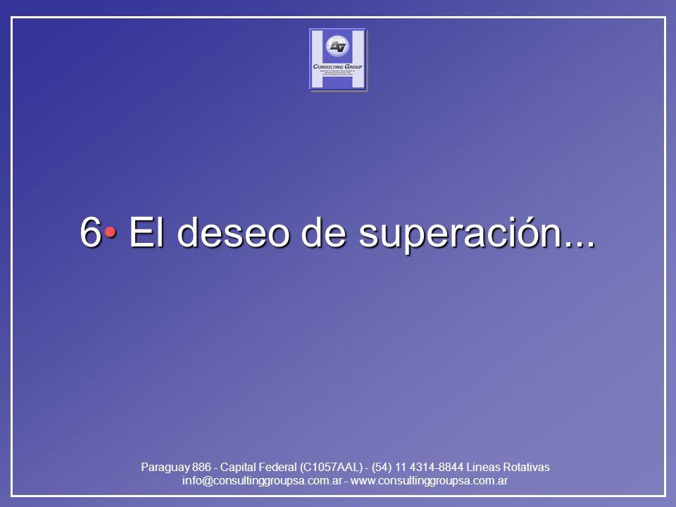 Paraguay 886 - Capital Federal (C1057AAL) - (54) 11 4314-8844 Lineas Rotativas info@consultinggroupsa.com.ar - www.consultinggroupsa.com.ar 6 El deseo