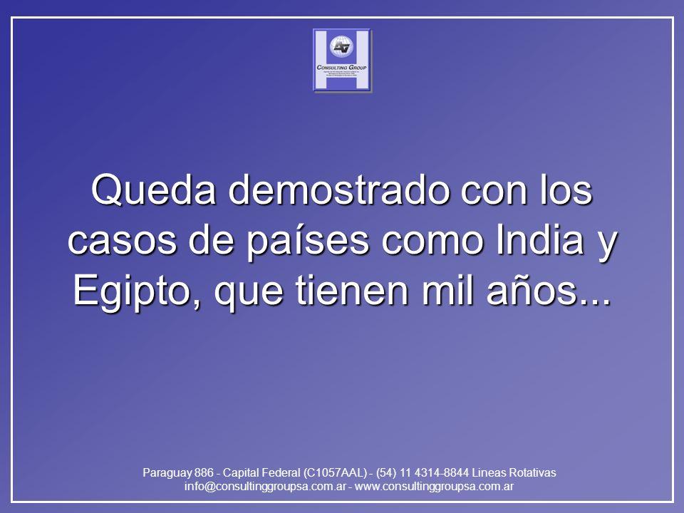 Paraguay 886 - Capital Federal (C1057AAL) - (54) 11 4314-8844 Lineas Rotativas info@consultinggroupsa.com.ar - www.consultinggroupsa.com.ar Queda demostrado con los casos de países como India y Egipto, que tienen mil años...
