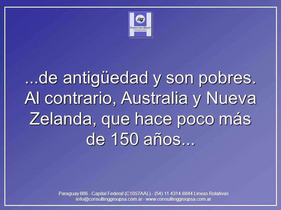 Paraguay 886 - Capital Federal (C1057AAL) - (54) 11 4314-8844 Lineas Rotativas info@consultinggroupsa.com.ar - www.consultinggroupsa.com.ar...de antigüedad y son pobres.