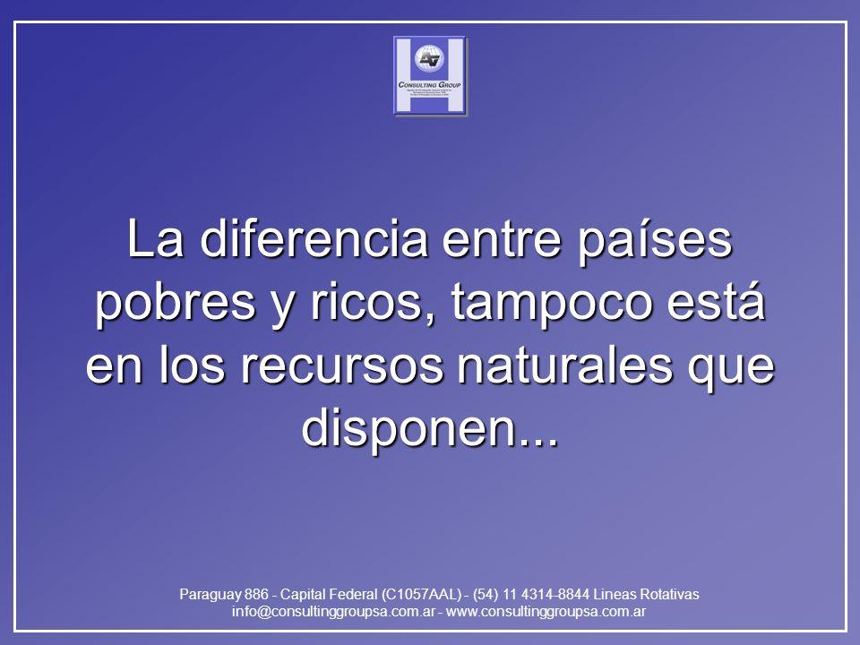 Paraguay 886 - Capital Federal (C1057AAL) - (54) 11 4314-8844 Lineas Rotativas info@consultinggroupsa.com.ar - www.consultinggroupsa.com.ar La diferencia entre países pobres y ricos, tampoco está en los recursos naturales que disponen...