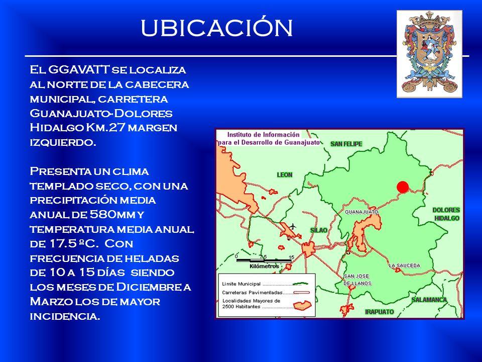 UBICACIÓN El GGAVATT se localiza al norte de la cabecera municipal, carretera Guanajuato- Dolores Hidalgo Km.27 margen izquierdo. Presenta un clima te